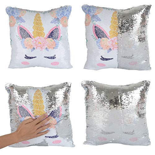 Merrycolor Mermaid Pillow Cover, Unicorn Pillow Case Magic Reversible Sequin Pillow Cover Throw Cushion Case Decorative Pillowcase (F Unicorn- Silver Sequins)