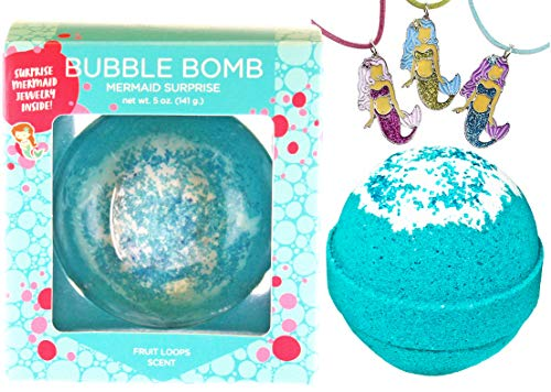 Mermaid Bubble Bath Bomb for Girls with Surprise Necklace Inside by Two Sisters Spa. Large 99% Natural Fizzy in Gift Box. Moisturizes Dry Sensitive Skin. Releases Color, Scent, and Bubbles.