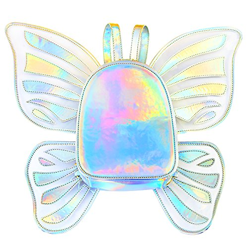 Zicac Women's Laser Holographic Backpack Butterfly Angel Wings Daypack for Girls